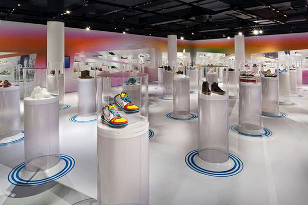 Photograph of the exhibit installation designed by Karim Rashid.  Photo copyright Bata Shoe Museums